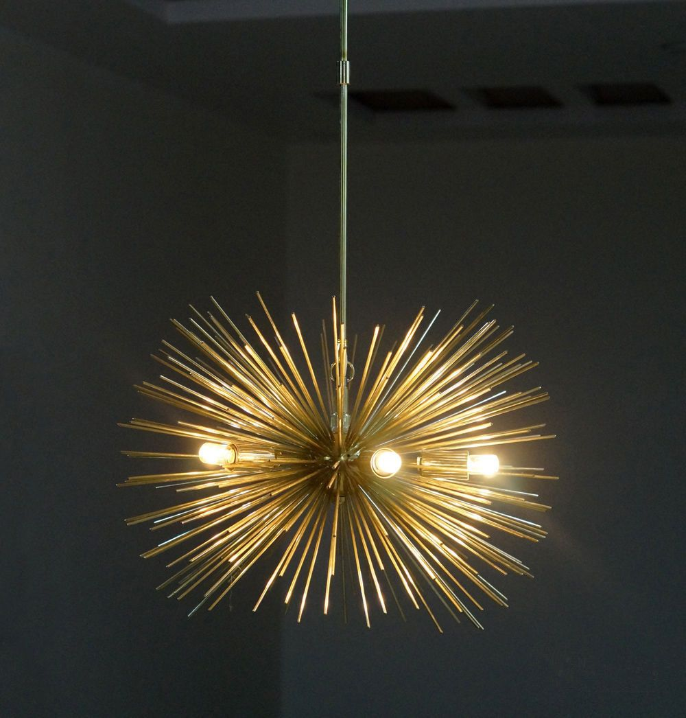 Mid century 5 Bulbs Gold Brass Sphere Urchin Chandelier Light ...