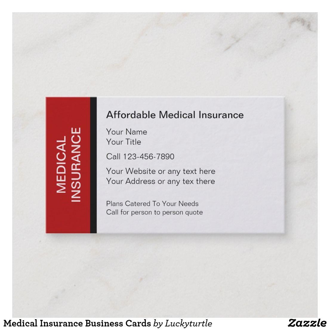 Medical Insurance Business Cards Zazzle Com