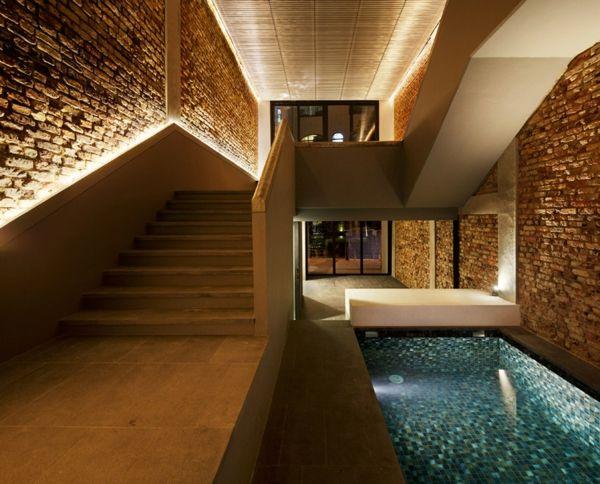 Betontreppe-LED Beleuchtung-Haus Design licht Pinterest
