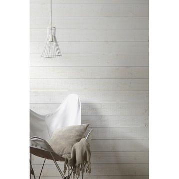 Lambris bois  pic a brut de sciage blanc blanc ARTENS, 205x135cm