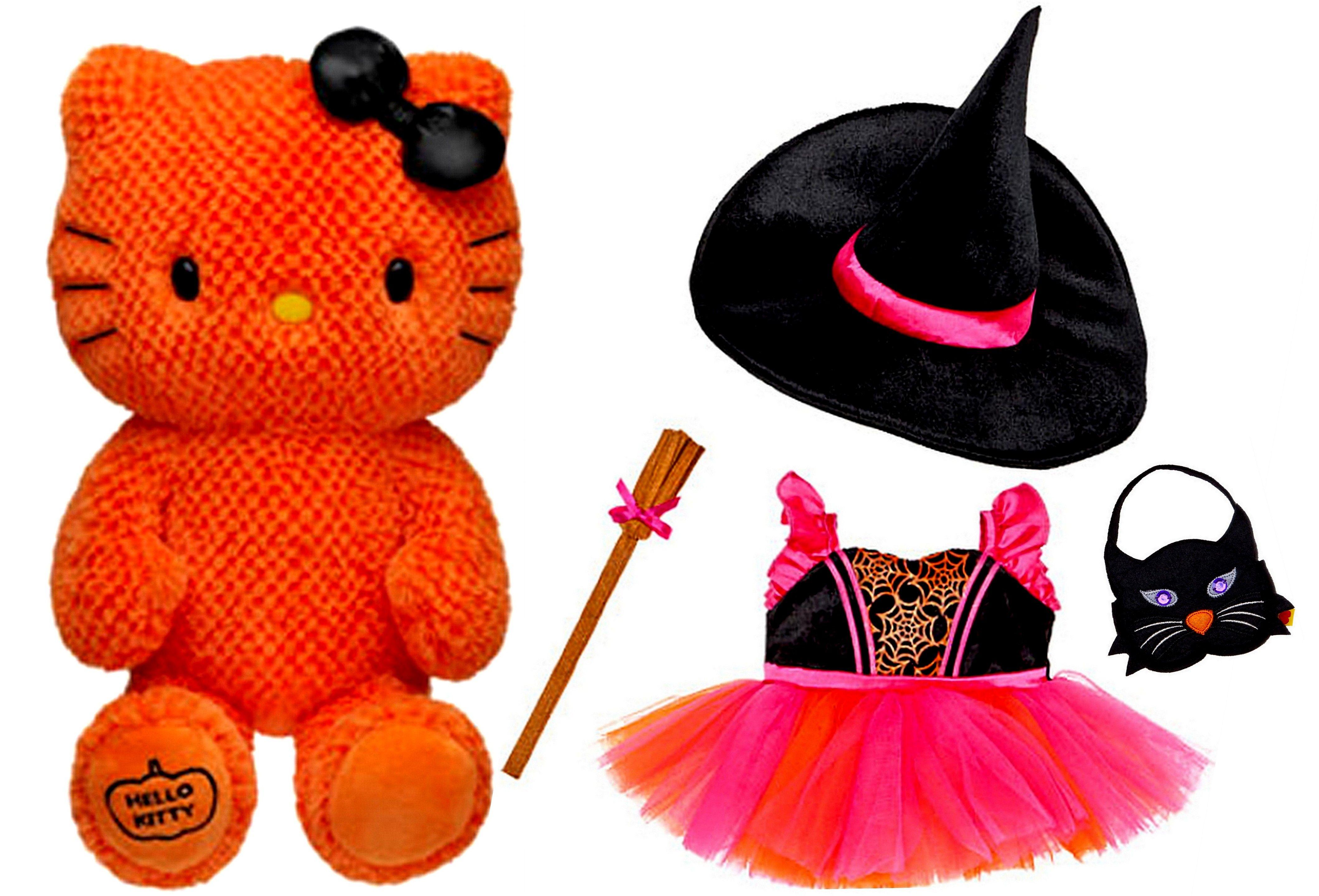 Build a Bear Hello Kitty Halloween Themed Orange Pumpkin with 4 pc ...