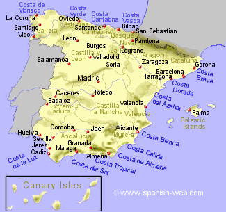 Map Of Spain Showing Valencia.Map Of Spain Showing The Costas Spain Map Of Spain