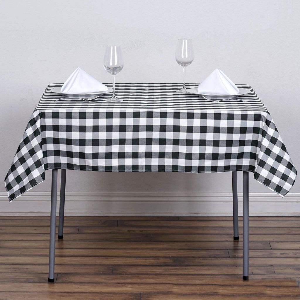Buffalo Plaid Tablecloth 54 X54 Square White Black Checkered Gingham Polyester Tablecloth White Table Cloth Plaid Tablecloth Black And White Tablecloth