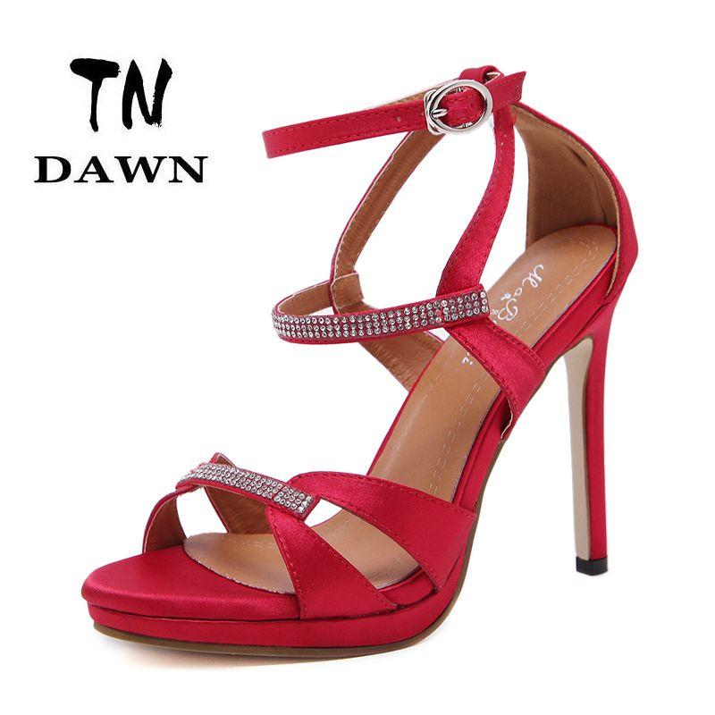 a63a03b10e1ee9 Price tracker and history of 2017 Sexy Elegant Women High Heel Stiletto  Woman Open Toe Platform Rhinestone Crystal Sandals Satin Wedding Bridesmaid  Shoes