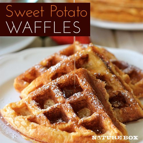 by Chung-Ah Rhee for  NatureBox           These sweet potato waffles are chock full of vitamin C, iron and fiber, and the are the perfect way to have a healthy breakfast that lets you indulge just a tiny bit. Wouldn't you want to wake up to this every morning?                  Serves:  6