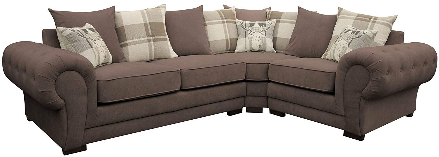 Corner Sofa Verona Fabric Left Or Right Grey Brown Cream Designer Scatter Cushions Living Room Furniture Left Gre Corner Sofa Scatter Cushions Brown And Grey