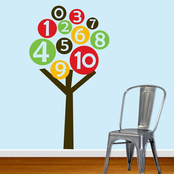 Numbers tree vinyl wall decal sticker by designedbeginnings so cute for a playroom and