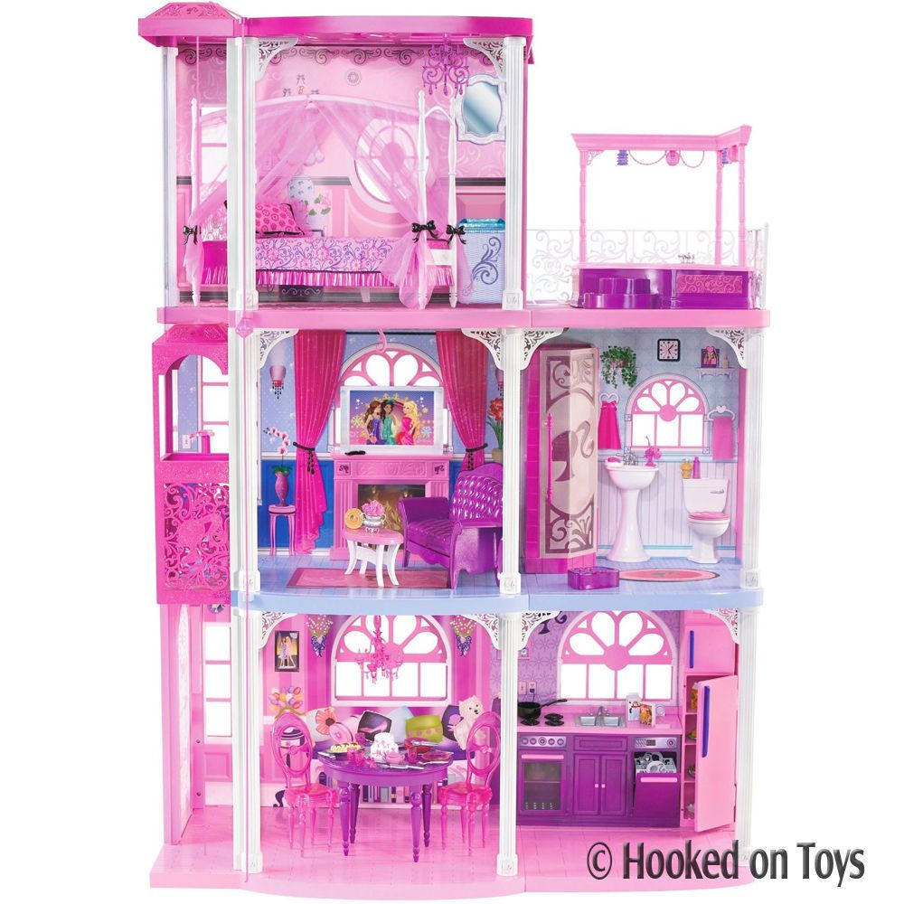 Barbie 3 Story Dream Town House 55 Pieces W Furniture Lights Mattel N7666 Barbie Dream House Barbie Dream Barbie Townhouse