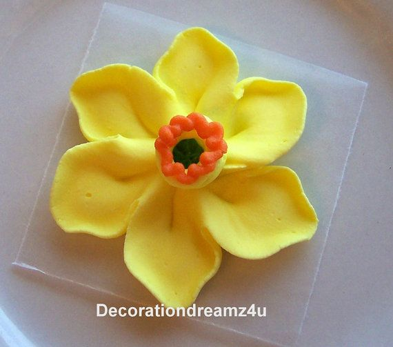 Sugar Royal Icing Edible Flower Cake Decoration Cupcake Topper Wedding Anniversary Birthday Baby Daffodil 1 Royal Icing Edible Flowers Cake Edible Toppers