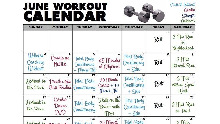 Workout Calendar For Gym : June workout calendar fitness from the veva