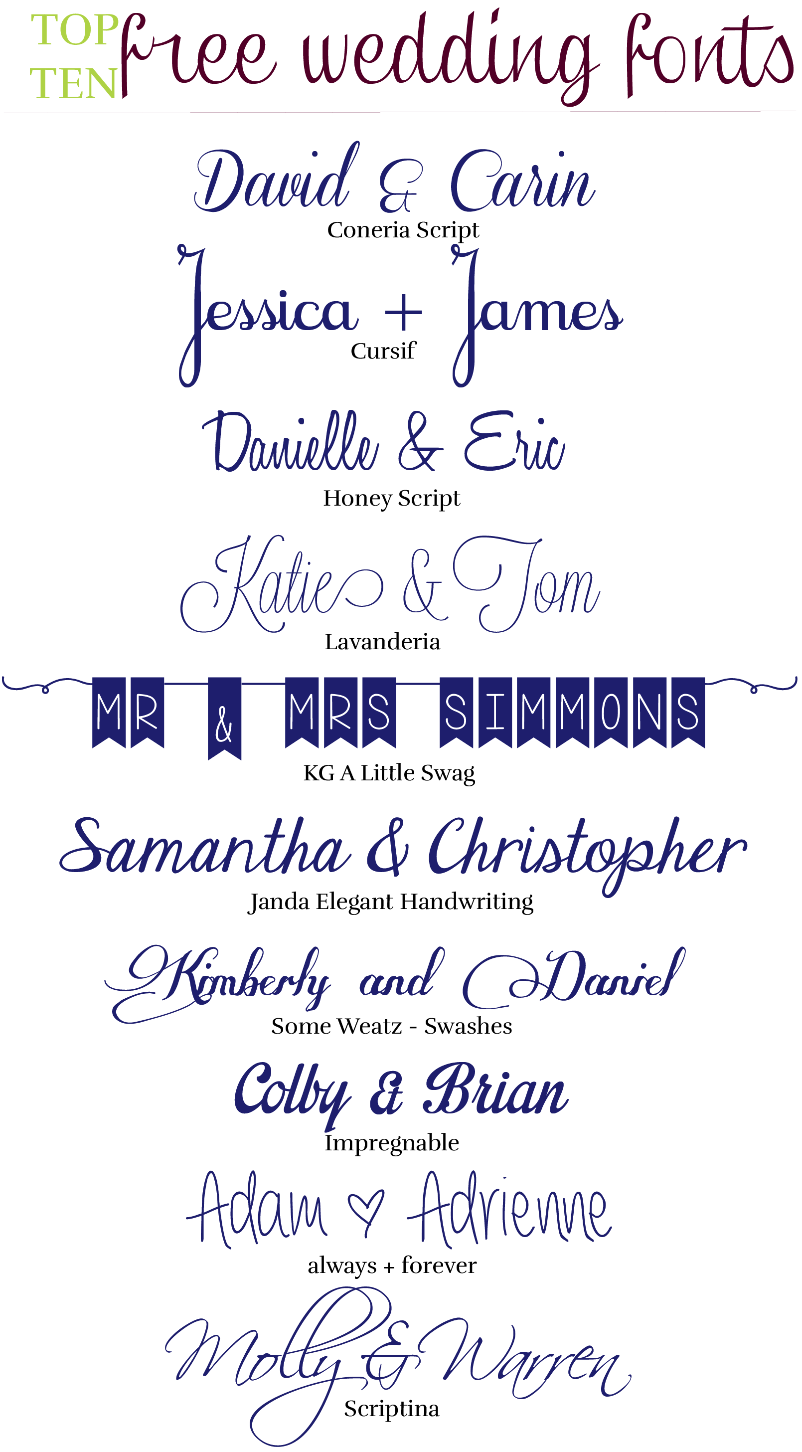 10 Free Wedding Fonts The Event Crashers libros Pinterest