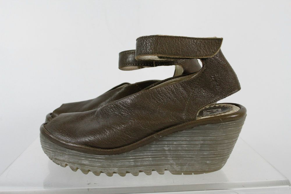 ae08efc101 Fly London Brown Ankle Strap Open Toe Wedge Shoes Size 37 #FlyLondon  #OpenToe