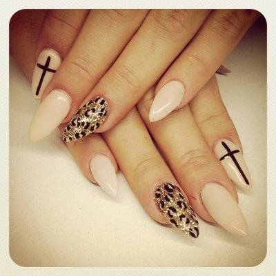 Cofin nails nails pinterest makeup nude stiletto with black leopard and a black cross nail art design prinsesfo Images