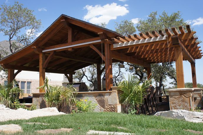 Homefield outdoor pavilion. interesting to transition with a pergola
