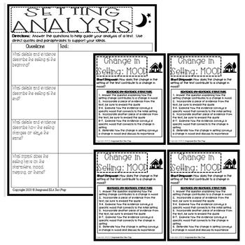 Setting Graphic Organizer Analysis Activity Short Response