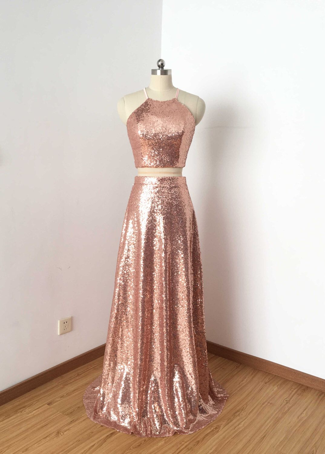 Two Piece Rose Gold Sequin Long Prom Dress 2017 | Pinterest | Long ...
