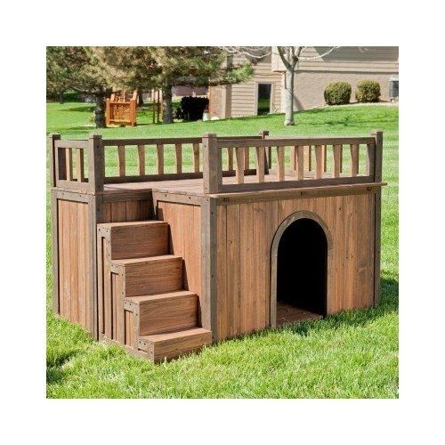 Dog House With Stairs Staircase Balcony Porch Wood
