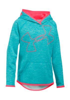 size 40 c0d13 4fb50 Under Armour PacificStealth Gray Fleece Novelty Jumbo Logo Hoodie Girls 7-16