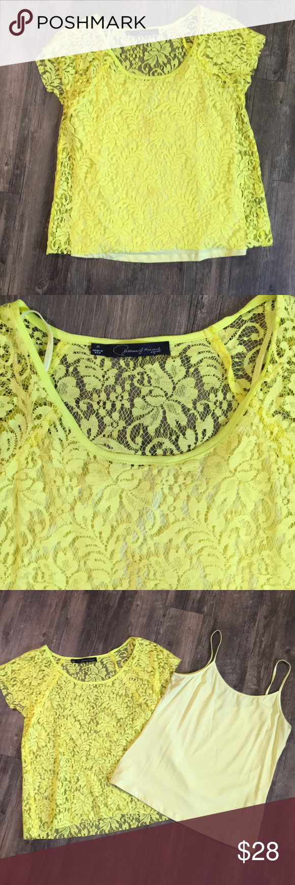 Yellow lace top with removable camisole conditioning customer