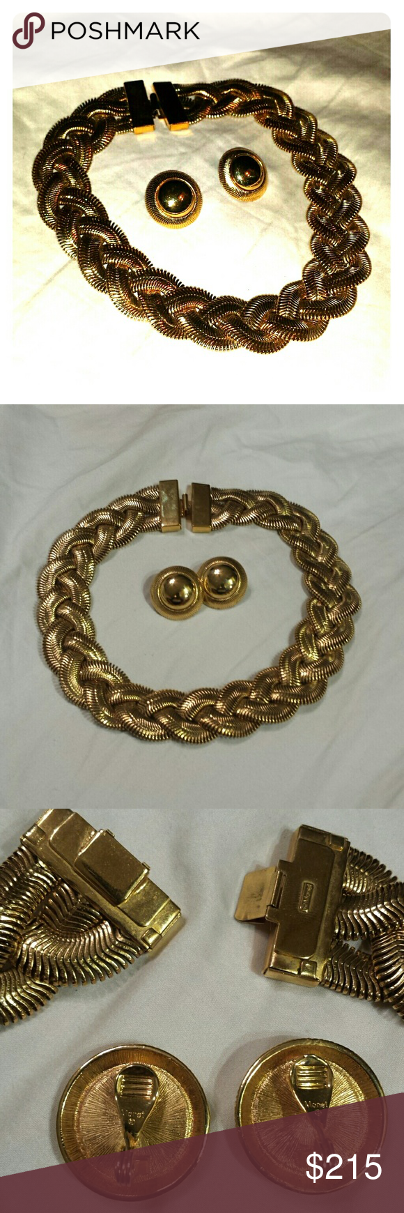 Nwot vintage monet 80s necklace earrings set Monet jewelry