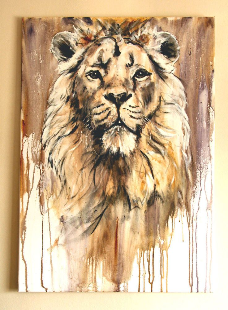 lion chandra original acrylic painting animal painting by geoff