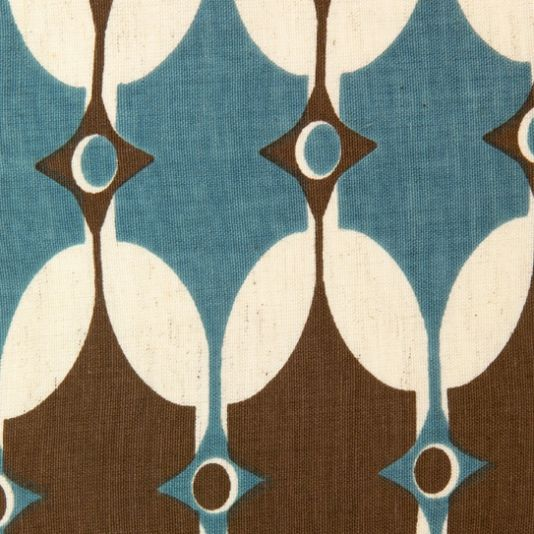 Selin Fabric A Teal And Chocolate Brown Hand Screen Printed Fabric