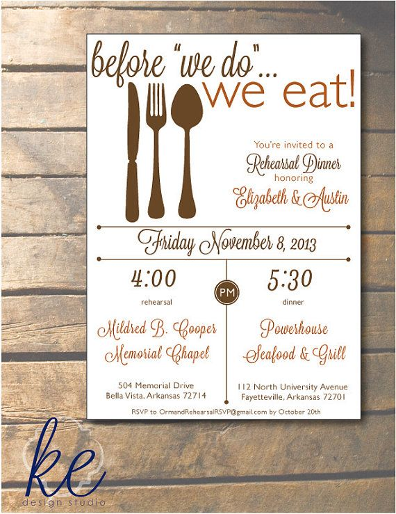 Before We Do We Eat Rehearsal Dinner Invitation X  Envelopes