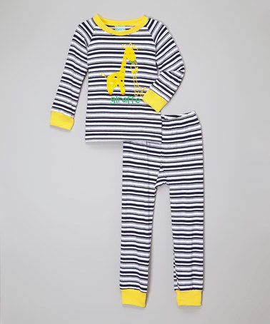Love this White & Navy Stripe Giraffe Pajama Set - Infant, Toddler & Boys on #zulily! #zulilyfinds