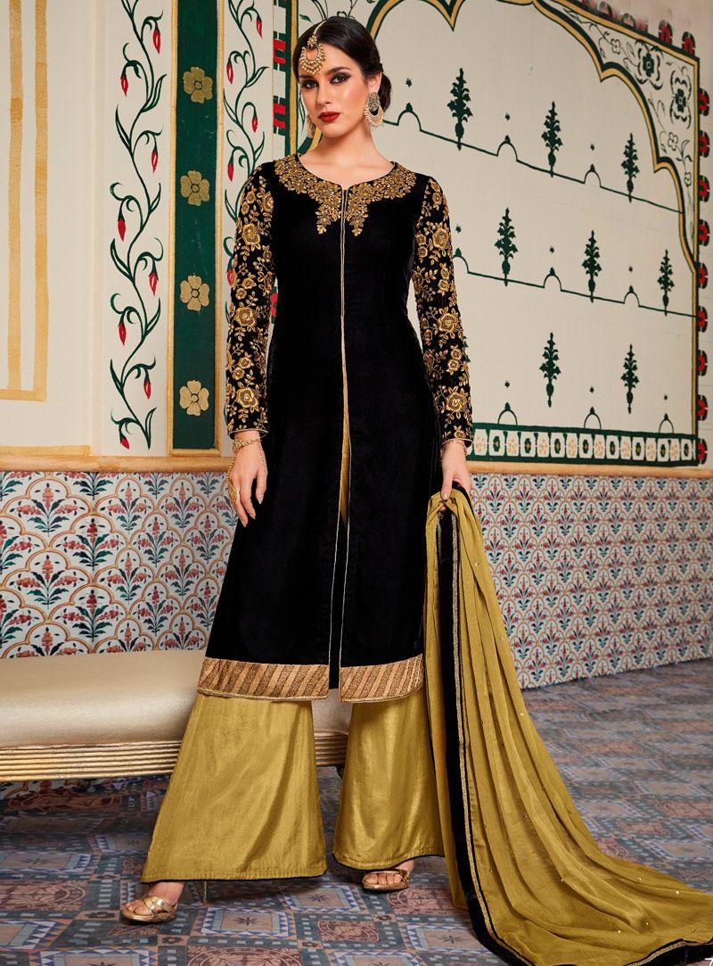 7b67a0be466 Black Velvet Palazzo Style Suit 107857