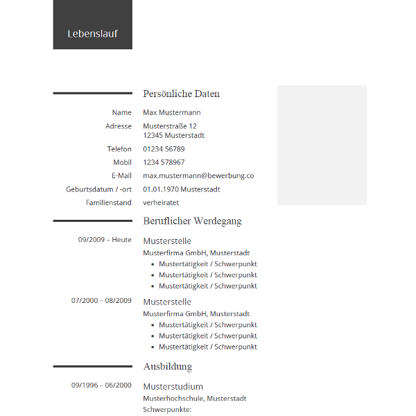 Lebenslauf Beispiel für die Bewerbung - Example CV for your Resume ...