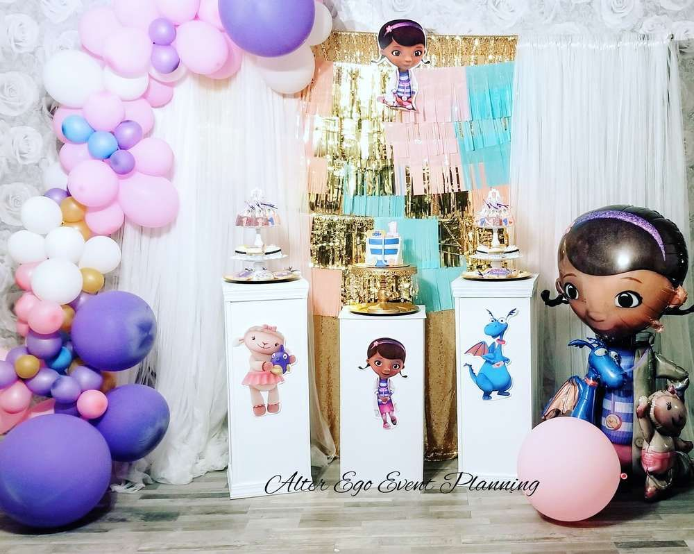 Take A Look At This Cute Doc Mcstuffins 1st Birthday Party The Birthday 1st Birthday Party For Girls Doc Mcstuffins Birthday Party Girls Birthday Party Themes