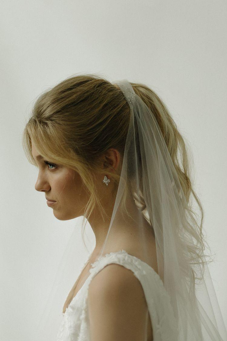 into the night | k&v wedding | wedding ponytail, headpiece