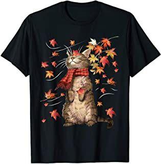 [ 300 584] Funny Cat Leaf Fall Hello Autumn Funny Cat Kitten Lover Gift T-Shirt #helloautumn