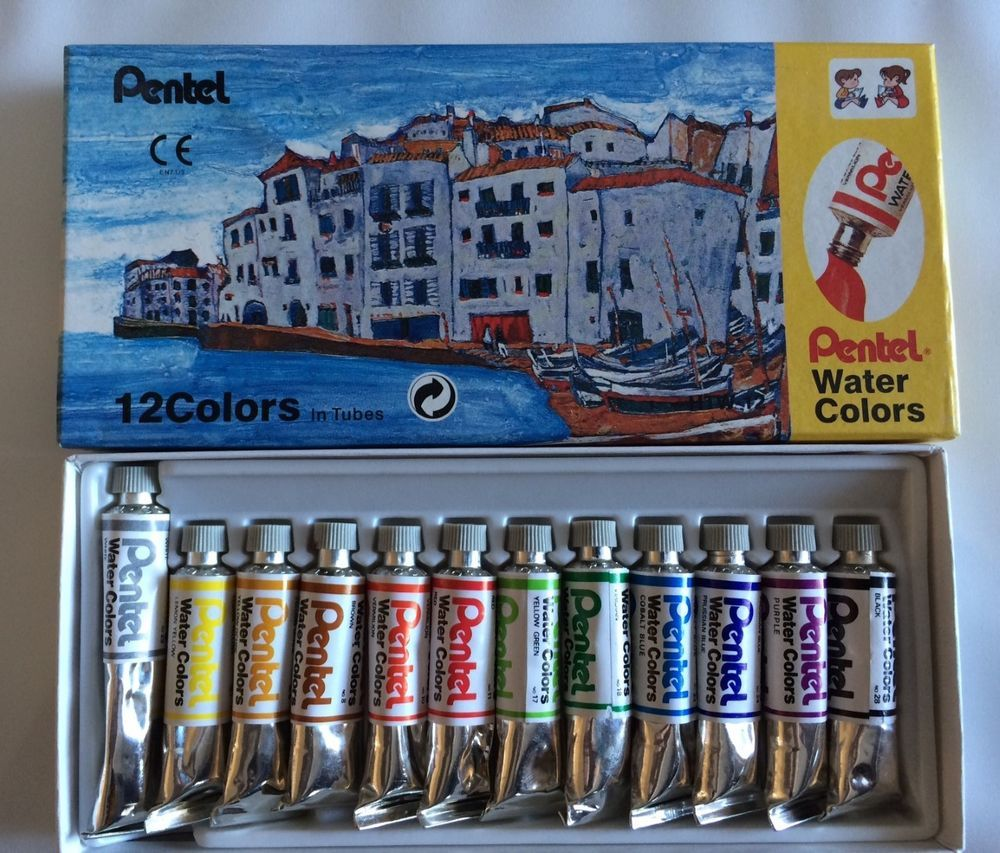 Vintage Pentel Water Colors Paint Watercolors In Tubes 12 Color