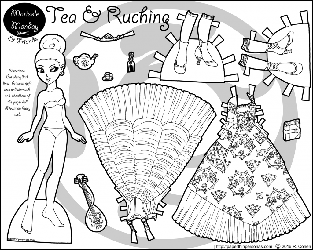 A Black Princess Paper Doll To Print And Color With Two
