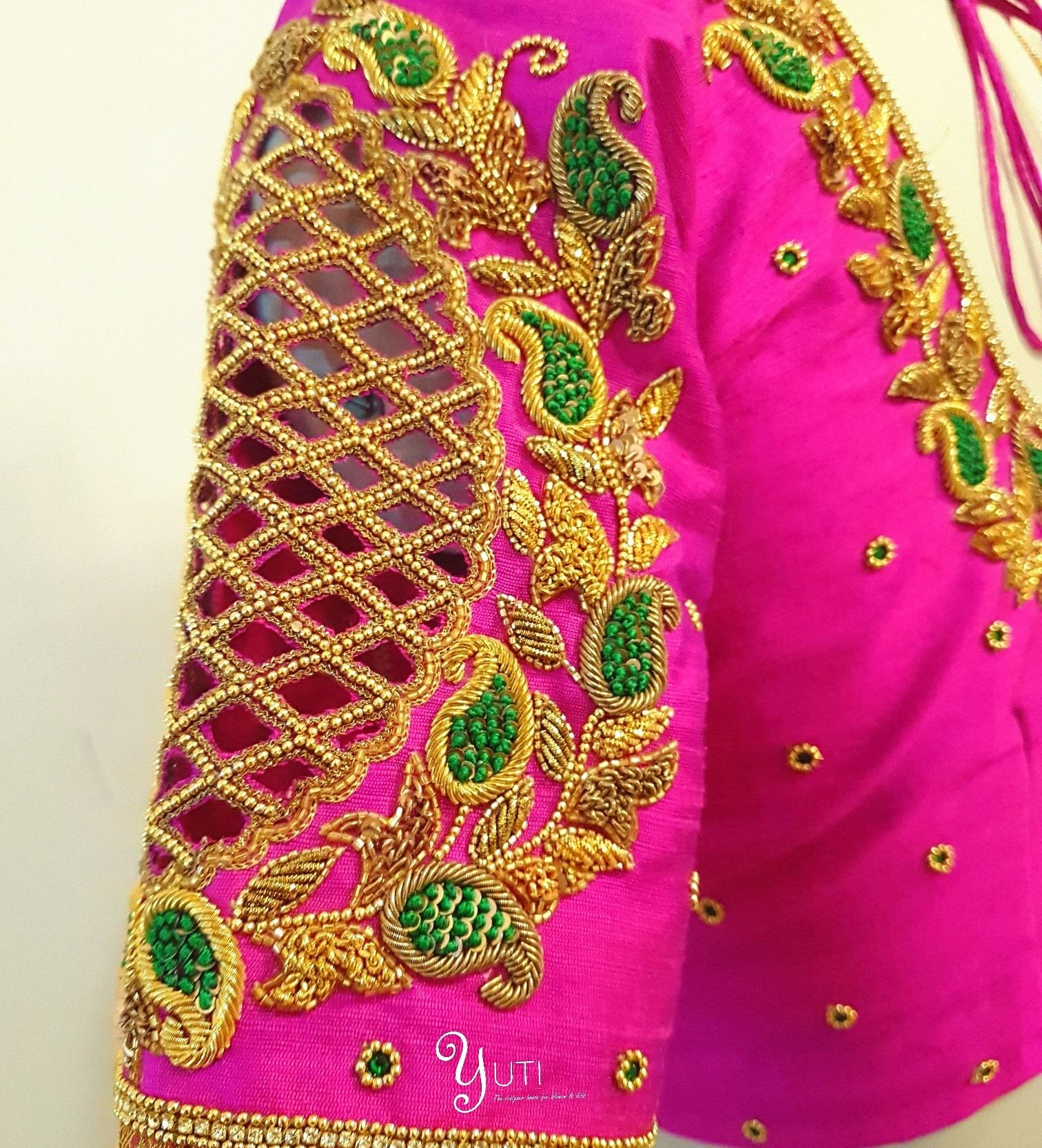 e19253088ae1f Cutwork embroidered blouse at YUTI. Beautiful pink color designer blouse  with floret lata design hand embroidery gold thread work and cut work.