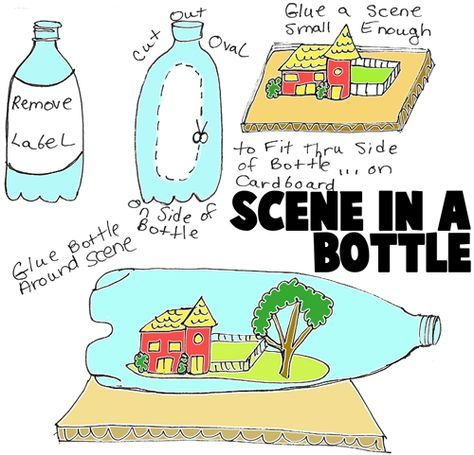 Camping kids could make an outdoor scene seen in a bottle. #rv