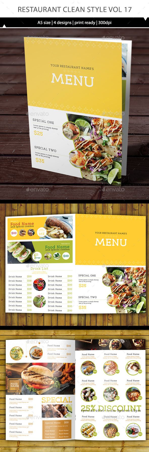 Restaurant Menu Vol 17 | Menu, Menu templates and Restaurant menu ...