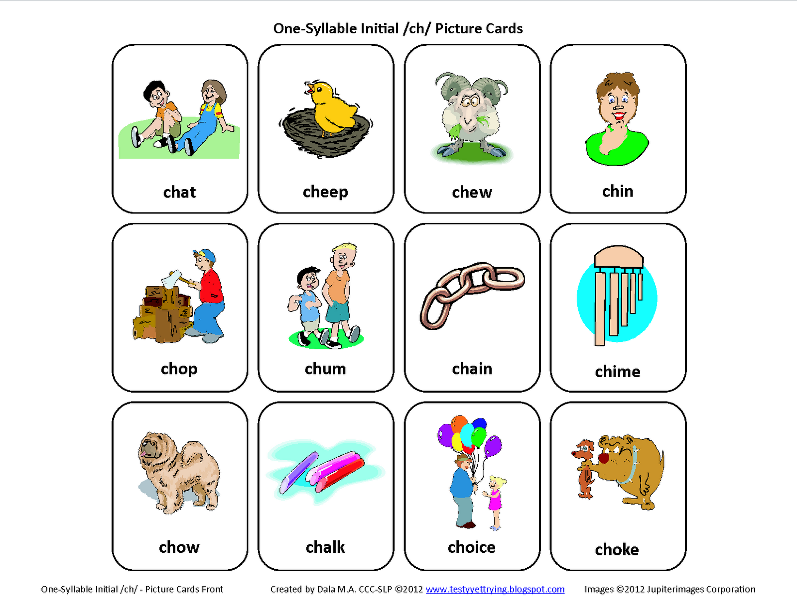 Initial Ch Free Speech Therapy Articulation Picture Cards