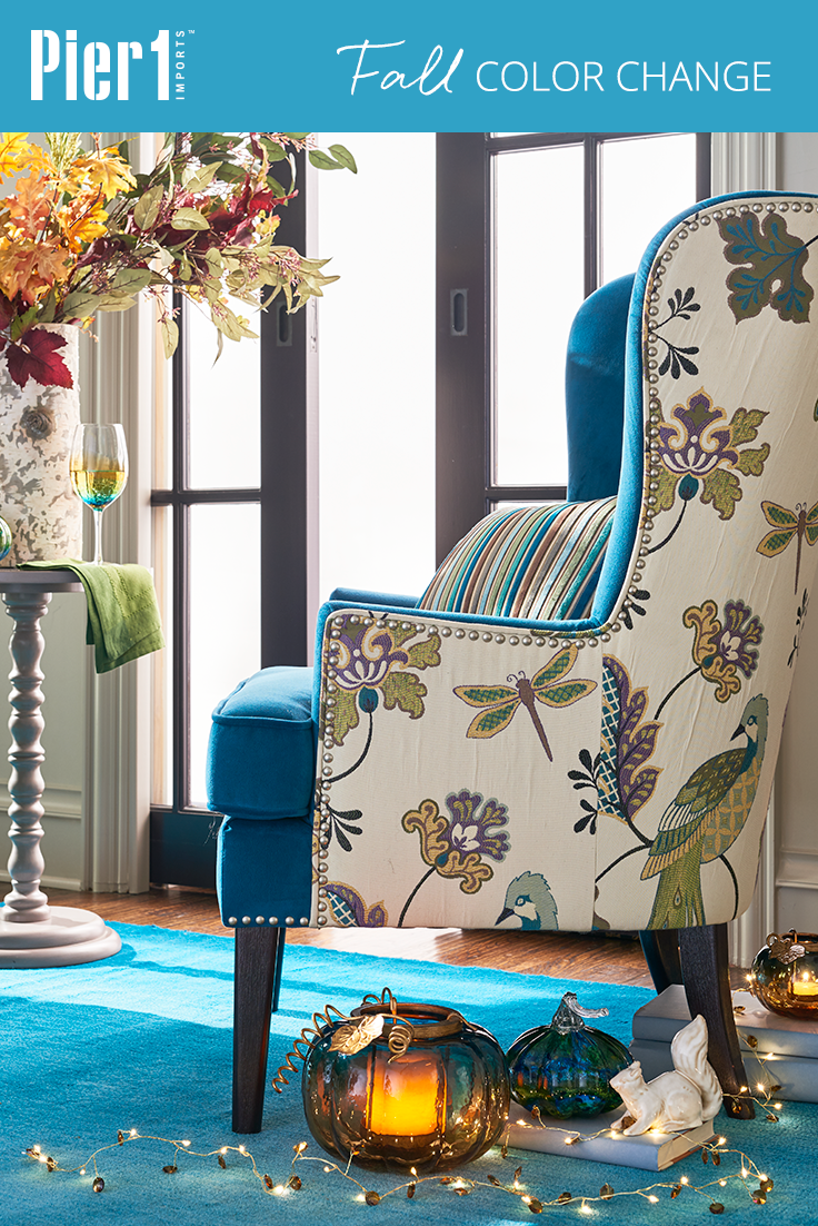 Fall Bold Blues And Greens Can Mark The Season, Too! With Pier Asher  Armchair, Upholstered In A Gorgeous Peacock Blue With A Lively Print On The  Sides And ...