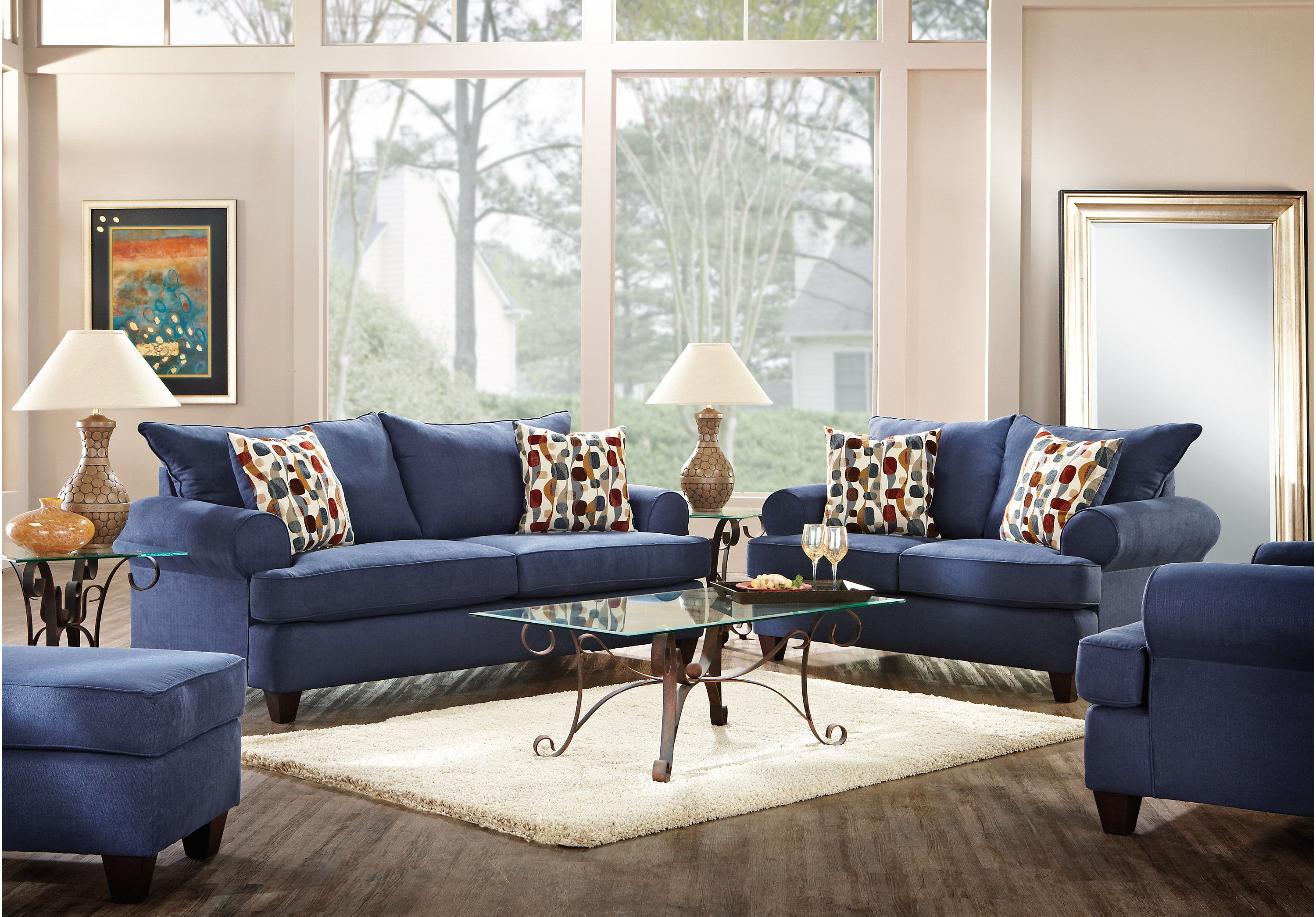 Picture Of Ansley Park Navy 5 Pc Living Room From Living Room Sets