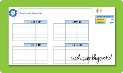 ExceLuisABN Matemática y Excel: Generador de sumas, con el algoritmo ...
