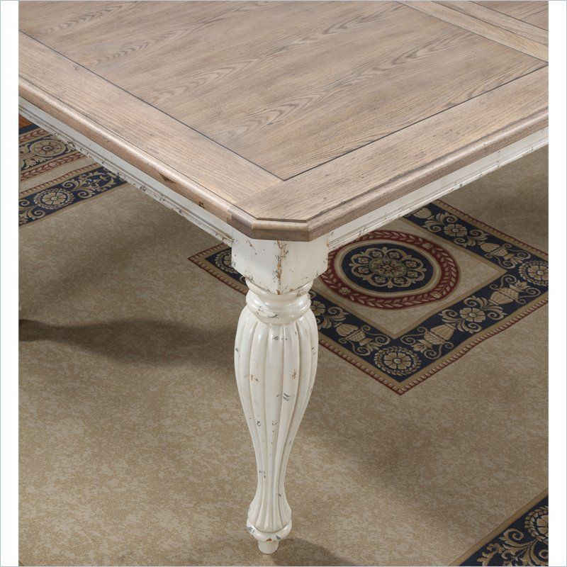 Riverside Furniture Coventry Two Tone Dining Table In Weathered  Driftwood/Dover White   32550