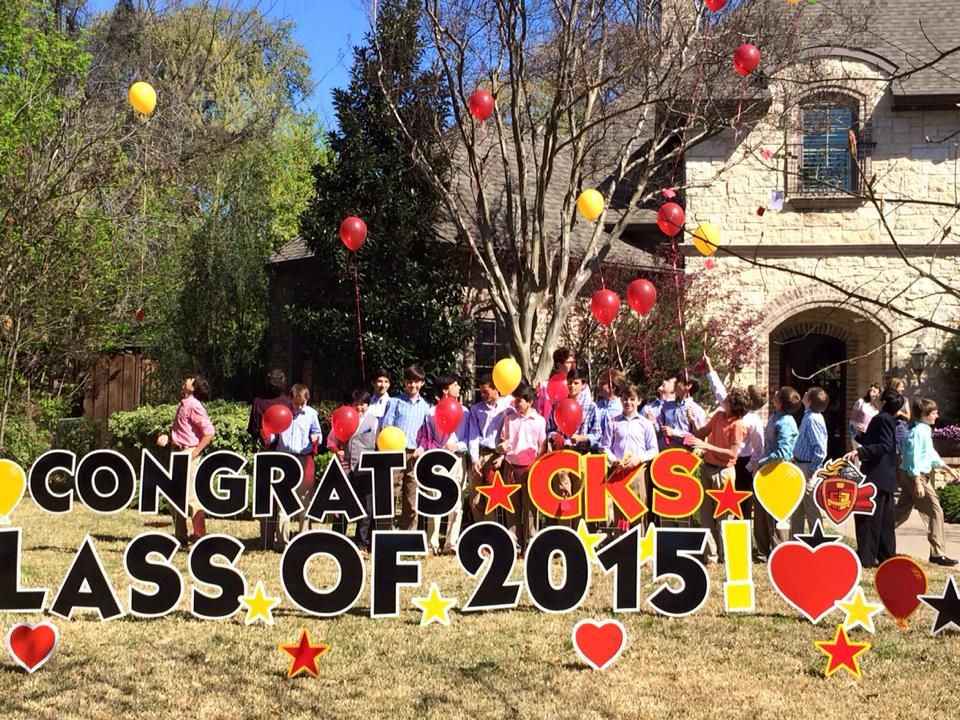 CONGRATS CKS CLASS OF 2015!!  Fun Balloon Release Party Pic with a great sign from Dallas Yard Greetings!!