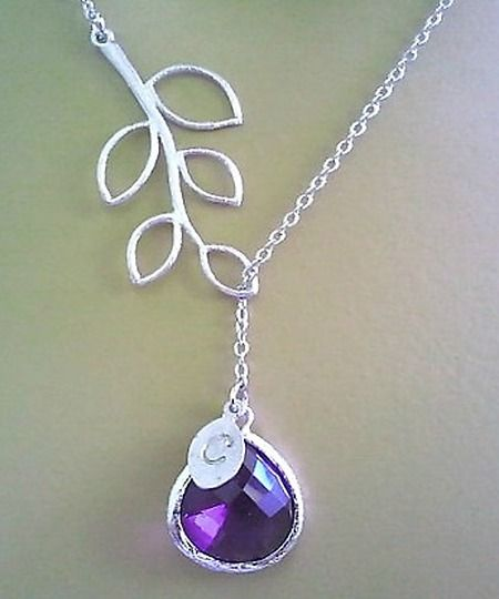 Birthstone Necklace, Ametyst purple Necklace,Personalized Initial Necklace