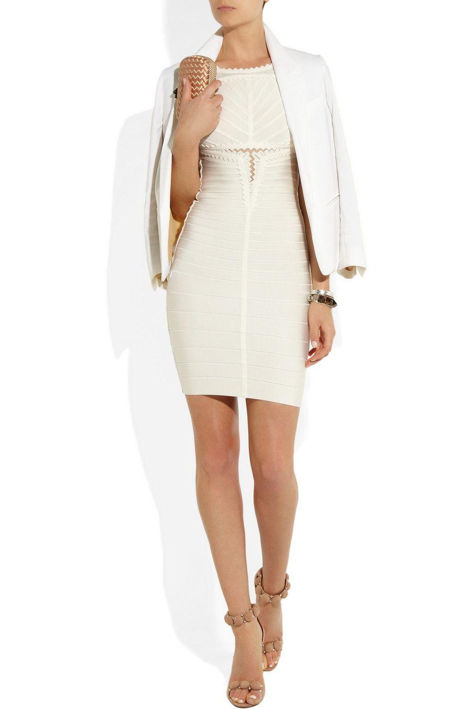 Herve leger white dress netaporter clothes pinterest