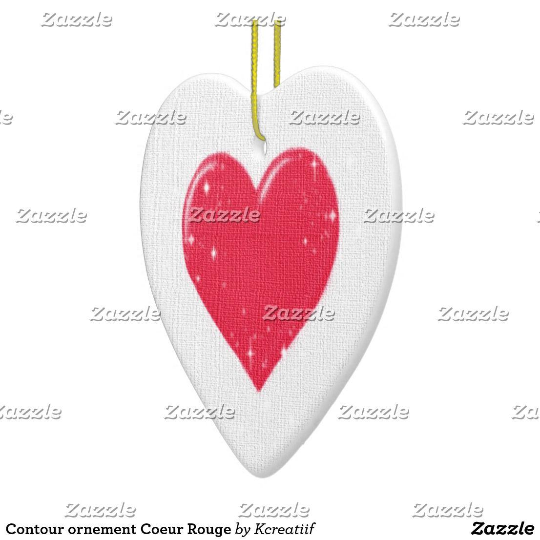 Contour Ornement Coeur Rouge Zazzle Fr Coeurs Rouges Ornement