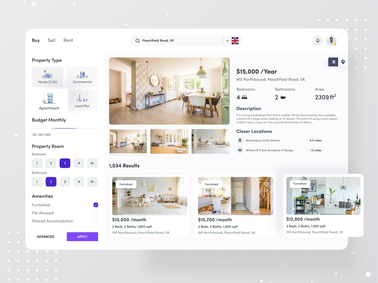 Buy Sell Rent In 2020 User Interface Design Interface Design Real Estates Design