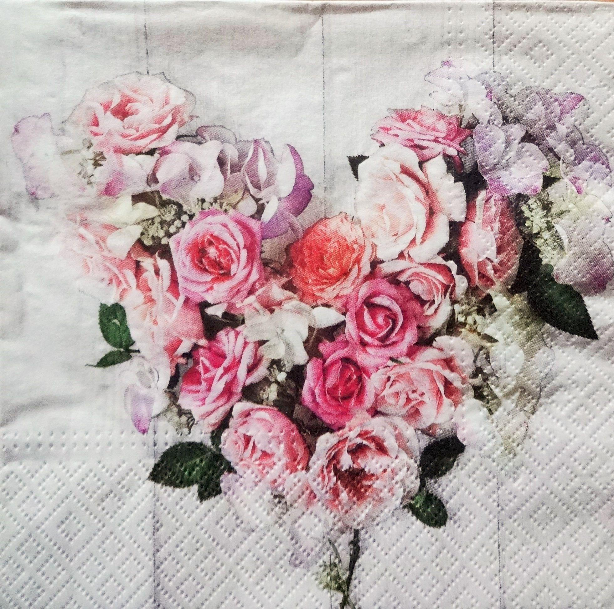 4 Valentines Day Napkin Rose Motif Napkin Romantic Napkin