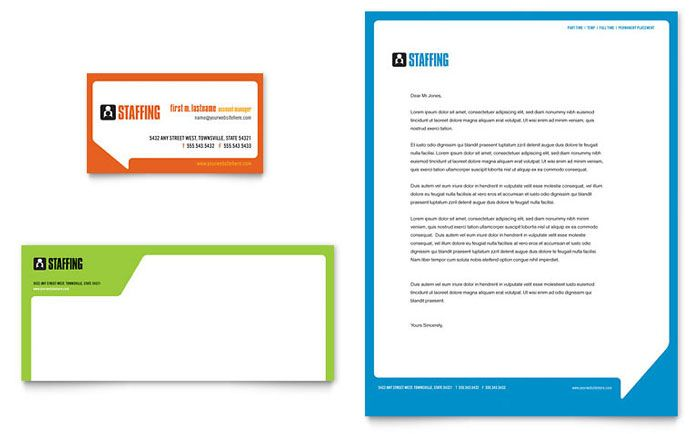 staffing and recruitment agency business card and letterhead, Invoice templates